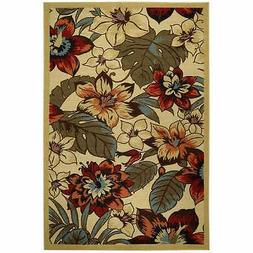 Rubber Back Ivory Multicolor Floral Garden Non-Skid Area Rug