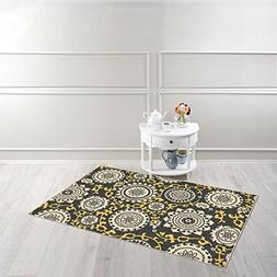 """Rubber Backed 3'4"""" x 5' Floral Medallion Yellow & Grey Area"""