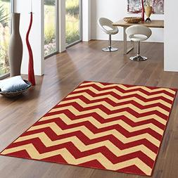 "Rubber Backed 3'4"" x 5' Rich Chevron Red & Beige Zig Zag Are"