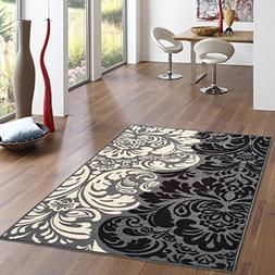 Rubber Backed 3-Piece Rug SET Black & Ivory Floral Damask Ar