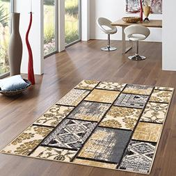 Rubber Backed 3-Piece Rug SET Grey & Ivory Fancy Patchwork A