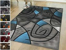 Rug 8x10 Area Rug Blue Grey Black Abstract Modern 5x7 Rugs C