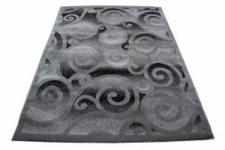 Rug Carpets NEW Silver Grey Swirl Pattern Polyester 5'x7' Mo