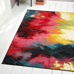Rugs Swirls Contemporary Modern Area Rug Multi-Color Abstrac