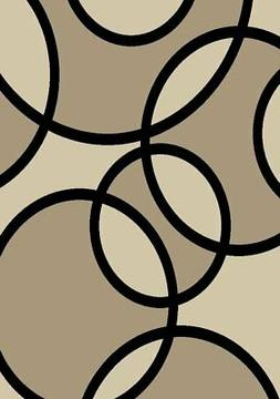Rugshop Contemporary Abstract Circles Area Rug 2' x 3' Beige