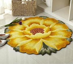 Dr.Luck Sunflower Round Rug Mats Flowers Round Rugs Yellow F