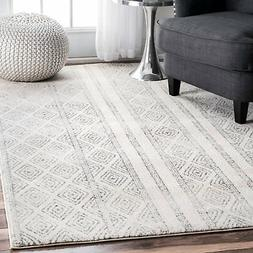 nuLOOM RZBD40A Sarina Diamonds Area Rug, 8' x 10', Grey