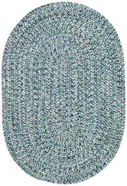 "Capel Rugs Sea Pottery Oval Braided Area Rug, 3 x 5"", Blue"