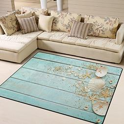 ALAZA Seashells Frame on Wooden Area Rug Rugs for Living Roo