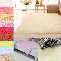 Shaggy Fluffy Rugs Anti-Skid Area Rug Dining Room Carpet Hom