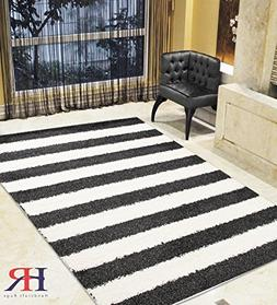 Handcraft Rugs Shaggy Rug Striped Pattern Design Charcoal Bl