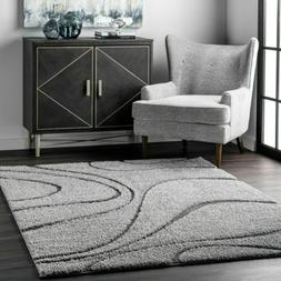 nuLOOM Shags Caroyln Area Rug in Dark Grey