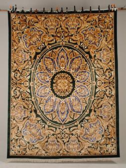 100% Silk Italian Versace Gold Blue and Black Rectangle Rugs