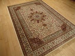 Silk Ivory Rug Persian Style Tabriz Rug 5x8 Living Room Rugs
