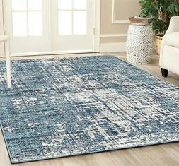 Silk Rug Collection - Modern Blue White Distressed Silk Area