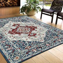Silk Rug Collection - Persian Inspired Oriental Blue Red Sil