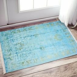 Silk Touch Turkish Area Rug, Non Skid, Washable Rug 2x4 Teal