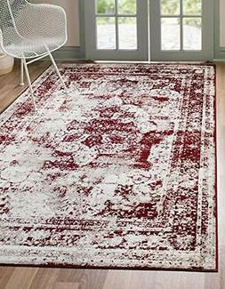 Unique Loom Sofia Collection Burgundy Area Rug