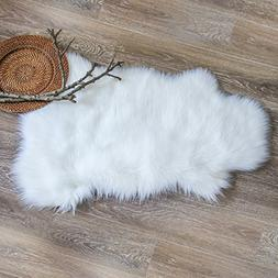 Ashler Soft Faux Sheepskin Fur Chair Couch Cover White Area