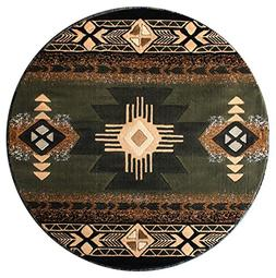 South West Area Rug Design Concord C318 Sage Green  Round