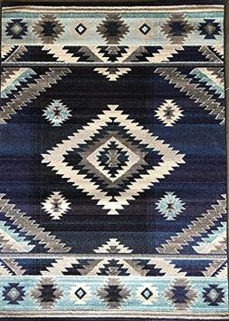 South West Native American Indian Area Rug Turquoise Beige G