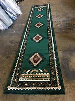 Southwest Native American Long Runner Rug Hunter Dark Green