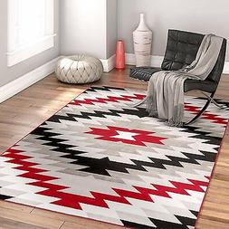 Southwestern/Tribal Pattern Grey/Red Polyester Area Rug Azte