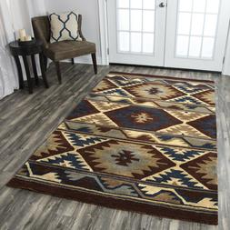 Southwestern Tribal Plush Hand Tufted Wool Brown Area Rug **