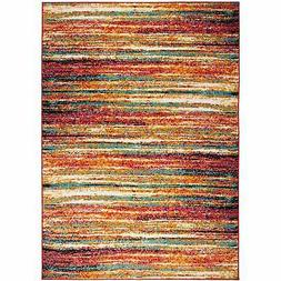 Home Dynamix Splash Brightly Colored Striped Round Area Rug