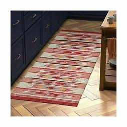 Stone & Beam Casual Geometric Kilim Cotton Runner Rug, 2' 6""