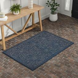 Stone & Beam Contemporary Floral Medallion Wool Rug, 4' X 6'