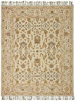 Stone & Beam Lottie Traditional Wool Area Rug, 5' x 8', Beig