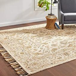Stone & Beam Lottie Traditional Wool Area Rug, 8' x 10', Bei