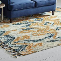 Stone & Beam Modern Global Ikat Wool Area Rug, 8' x 10', Blu