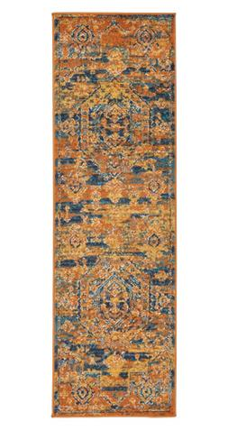 "Stone & Beam Old World Runner, 1'10"" x 6', Blue and Orange"