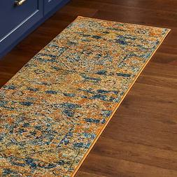 "Stone & Beam Old World Runner Rug 1' 10"" x 6' Blue and Orang"