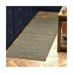"Stone & Beam Striped Leather Runner Rug, 2' 6"" x 8', Beige 2"