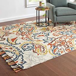 Stone & Beam Swirling Paisley Farmhouse Motif Wool Area Rug,