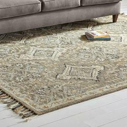 Stone & Beam Vero Medallion Wool Area Rug, 4 x 6 Foot, Neutr
