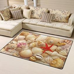 Naanle Summer Ocean Beach Area Rug 3'x5', Starfish and Seash