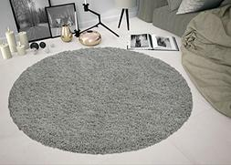 Sweethome Stores COZY2763-Round Shaggy Rug, 5'3 Round, Grey
