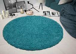 Sweethome Stores COZY2766-ROUND Shaggy Rug, 5'3 Round, Turqu