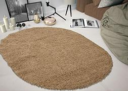Sweethome Stores COZY2769-Oval Shaggy Rug, 5'3 X7' Oval, Bei