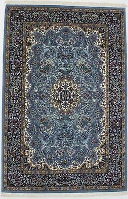 Teal Blue New Hand-Knotted Kirman 4X6 Oriental Home Décor W