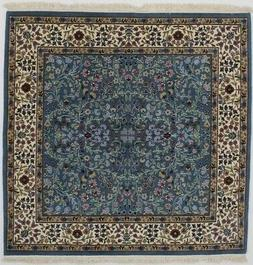 Teal Blue New Square Hand-Knotted Kirman 5X5 Oriental Home D