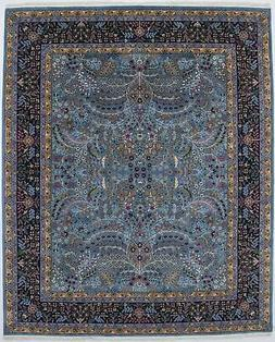 Teal Blue Thick Pile Hand-Knotted New Kirman 8X10 Oriental H