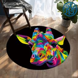 The Royal Giraffe by Weer Round Carpet Watercolor <font><b>A