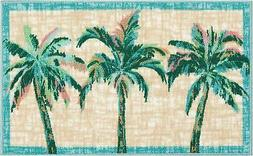 Nourison Three Palm Trees Accent Rug One Size Blue/beige