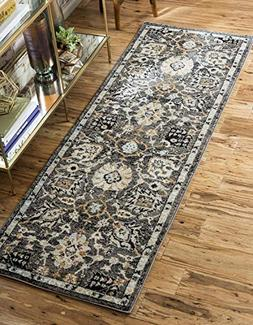 Unique Loom Tradition Collection Classic Floral Gray Runner