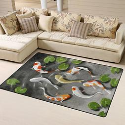 Naanle Traditional Area Rug 3'x5', Japanese Koi Fish Polyest